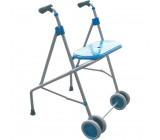 Andador de aluminio con asiento y ruedas