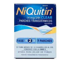 NIQUITIN CLEAR (14 MG/24 H 7 PARCHES TRANSDERMICOS 78 MG )